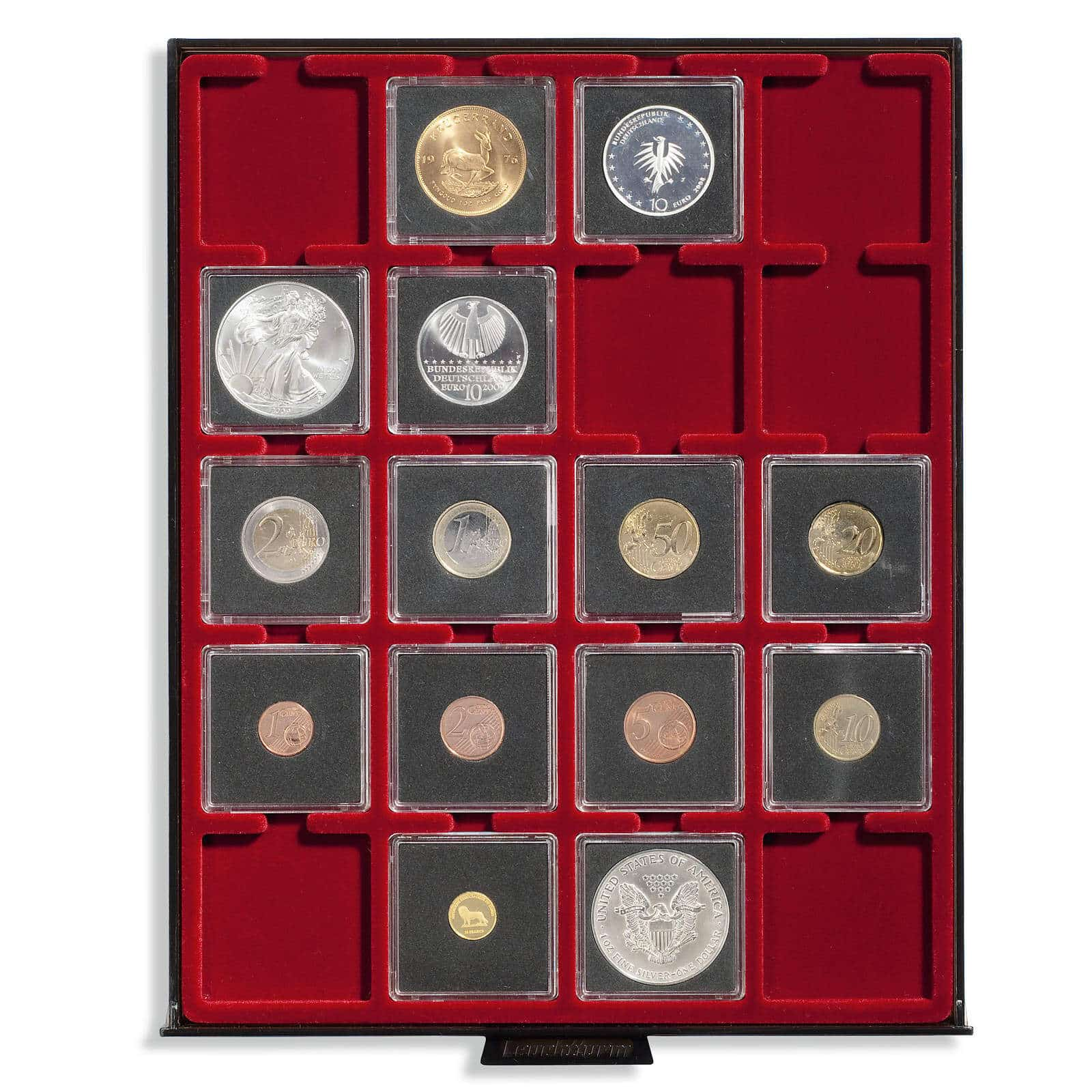 Leuchtturm Quadrum Square Coin Capsules 28mm Lighthouse Capsules Pack of 10