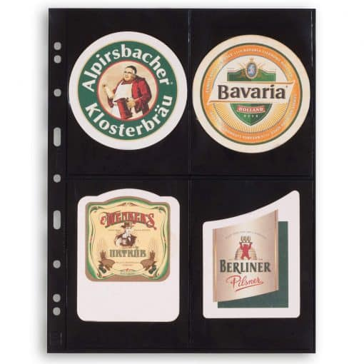 Plastic pockets GRANDE, four-way division for postcards, black