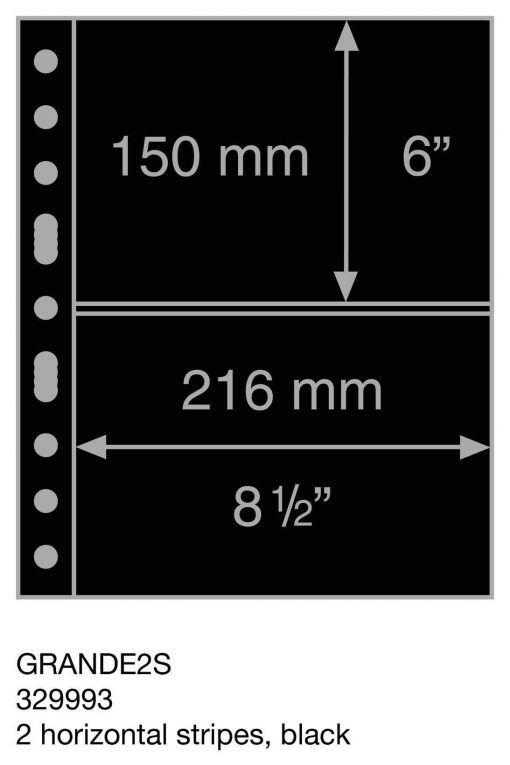 Plastic pockets GRANDE, 2 horizontal stripes, black