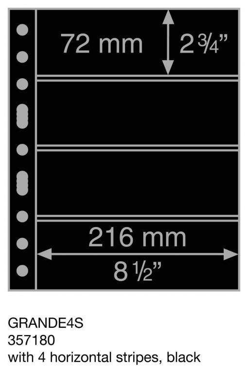 Plastic pockets GRANDE, with 4 horizontal stripes, black